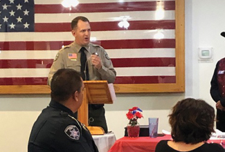 Sheriff Clouse speaking at meeting